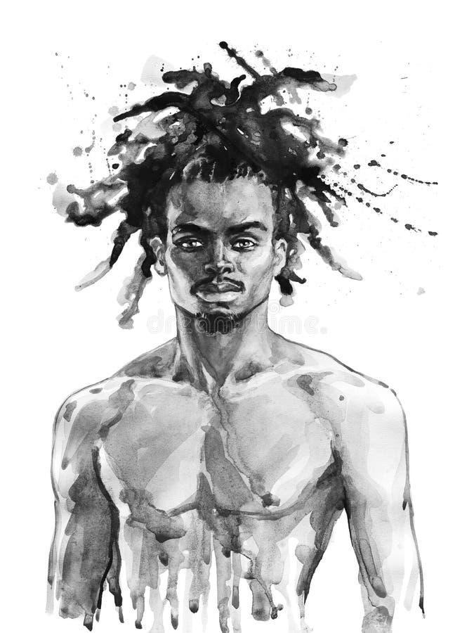 Akwarela afrykański mężczyzna ilustracji