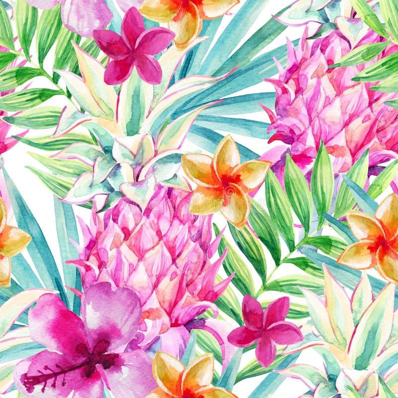 Akwarela ananasowy owocowy bezszwowy wzór ilustracji