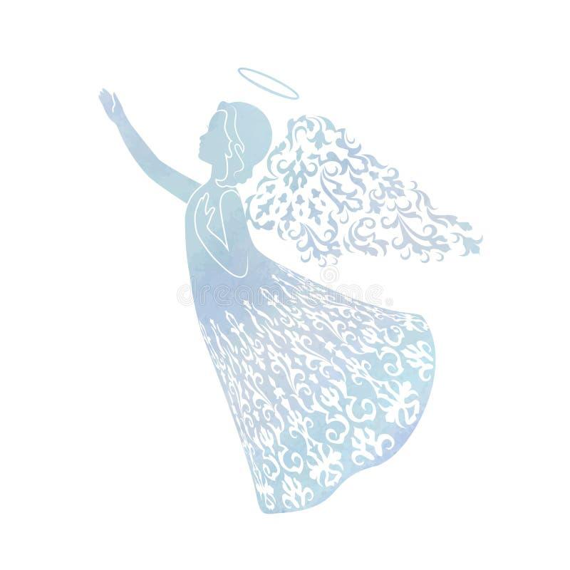 Akwarela anioł z ornamentacyjnymi skrzydłami ilustracja wektor