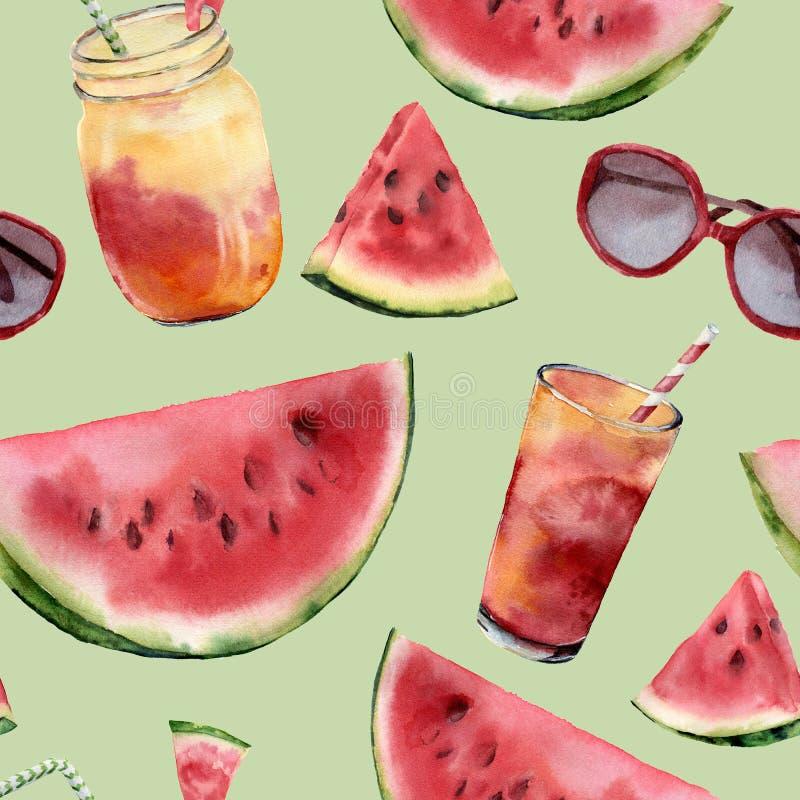 Akwarela arbuz, sunglass i koktajlu duży bezszwowy wzór, Ręka malujący arbuza plasterek z owocowym koktajlem obraz royalty free