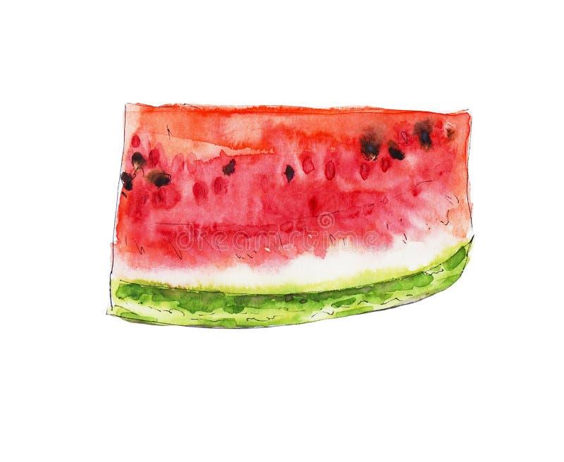 Akwarela arbuza czerwony soczysty plasterek zdjęcia stock