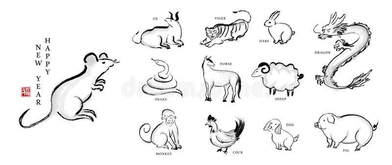 Akwarela atramentu farby sztuki tekstury ilustracji 12 chińczyka nowego roku zodiaka wektorowy znak Przek?ad dla Chi?skiego s?owa ilustracji
