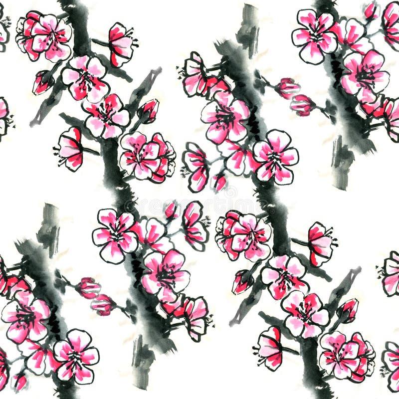 Akwarela atramentu kwiatonośna wiśnia, śliwka lub Sakura, - bezszwowy wzór ilustracja wektor