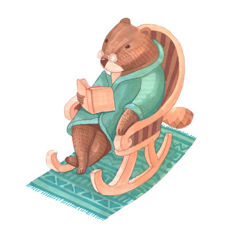 Akwarela bóbr w szkłach siedzi w kołysa krześle z b ilustracja wektor