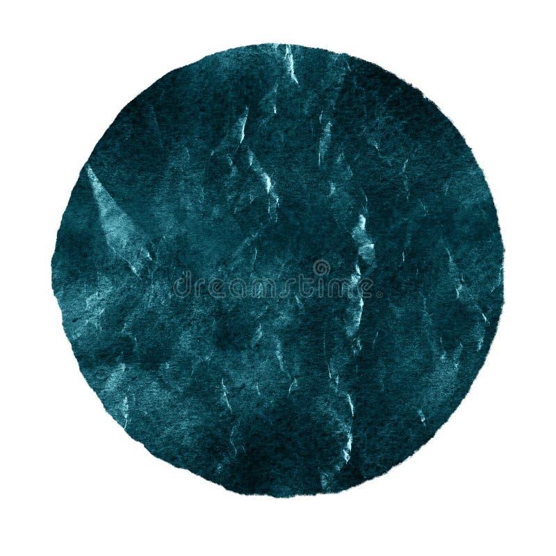 Akwarela błękitny świerkowy okrąg na białym tle ilustracja wektor