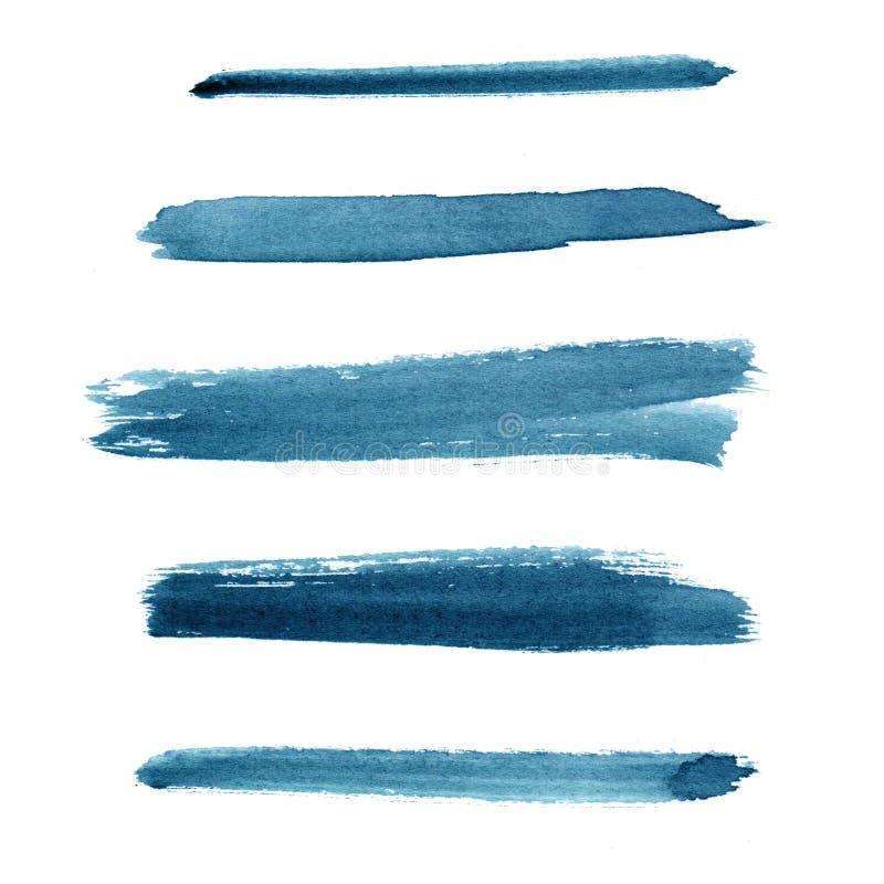 akwarela Błękitny abstrakt malujący marynarka wojenna atramentu uderzenia ustawiający na akwareli tapetują Odizolowywający na bie obrazy royalty free