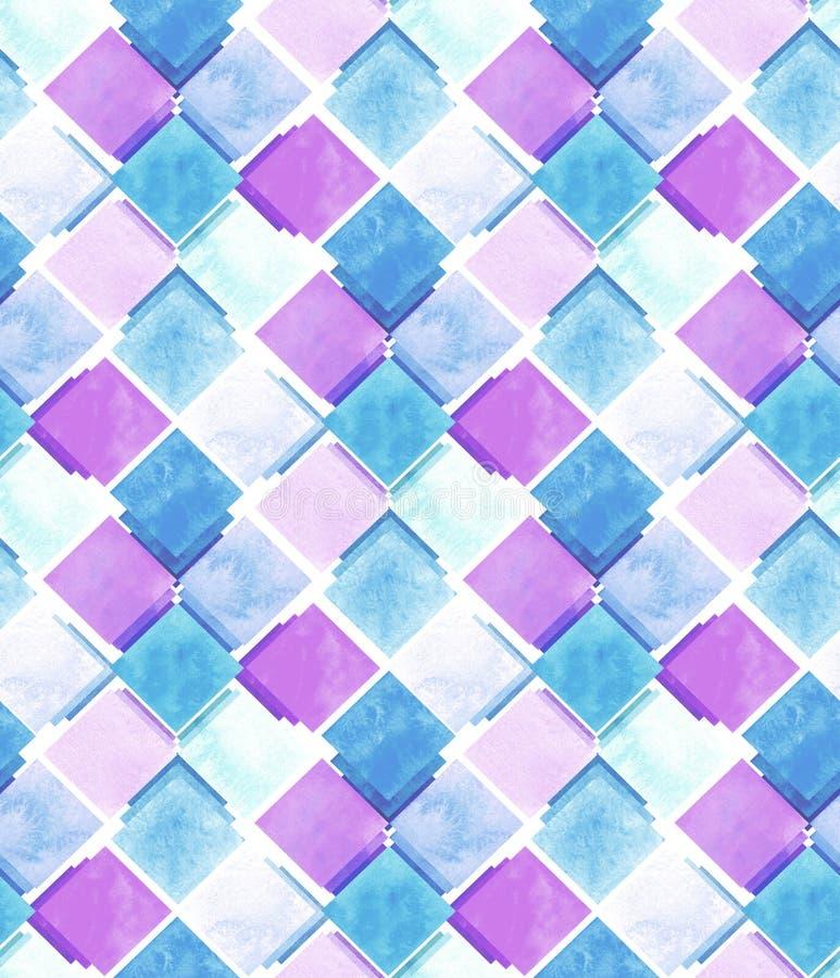 Akwarela Błękitny I Różowy kwadrat powtórki wzór ilustracja wektor