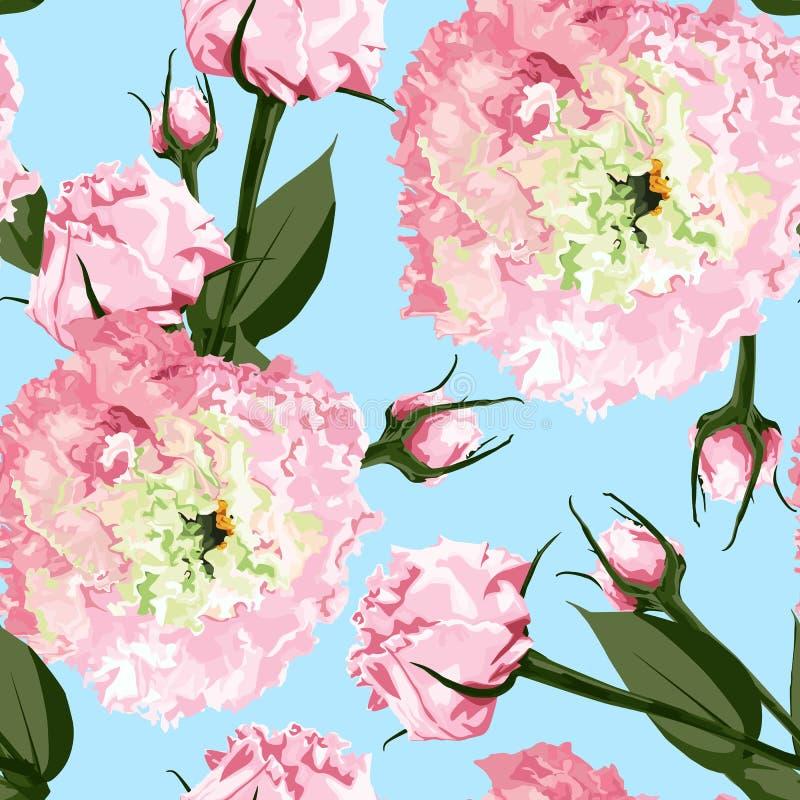 Akwarela bezszwowy kwiecisty wzór Kwitnie delikatnego wzór kwiatu Eustoma, Lysianthus ilustracja wektor