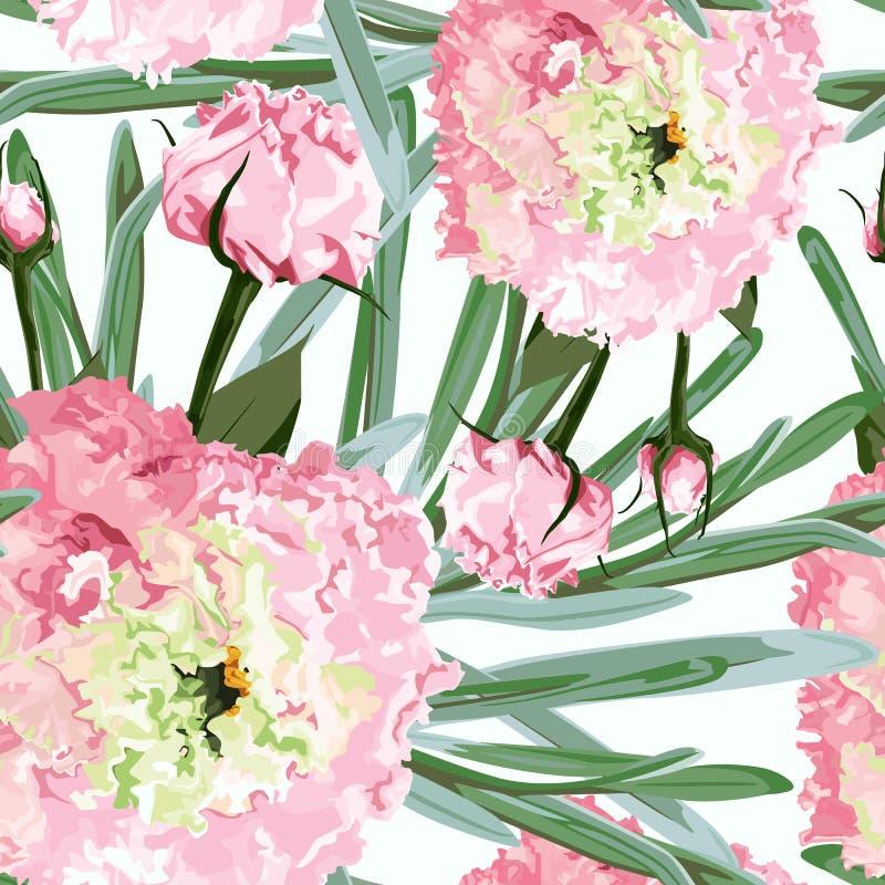 Akwarela bezszwowy kwiecisty wzór Kwitnie delikatnego wzór kwiatu Eustoma, Lysianthus ilustracji