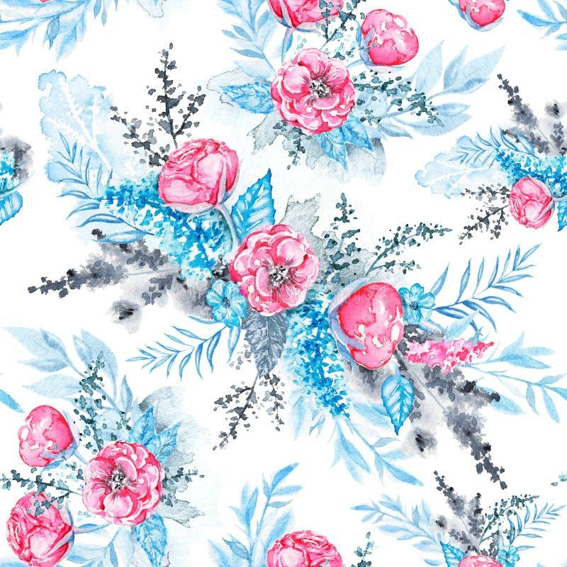 Akwarela bezszwowy wzór z menchia kwiatami i błękitów liśćmi ilustracji