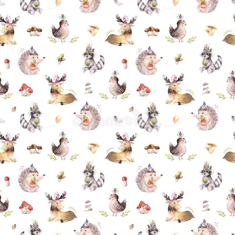Akwarela bezszwowy wzór śliczny dziecko kreskówki jeż, wiewiórka i łosia amerykańskiego zwierzę dla nursary, lasu las ilustracja wektor