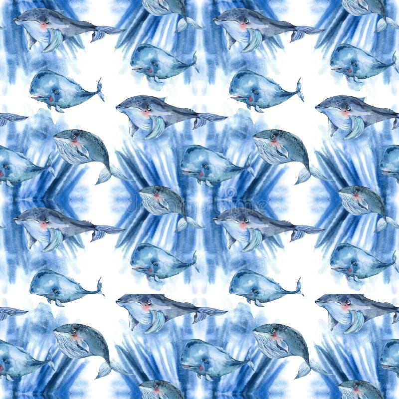 Akwarela bezszwowy wzór błękitny wieloryb, nautyczny cyfrowy papier, dennego zwierzęcia niekończący się tekstura na abstrakcjonis ilustracja wektor