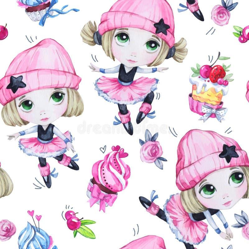 Akwarela bezszwowy wzór Baletnicze dziewczyny z słodkimi tortami Dancingowi princesses nastolatek Świętowania przyjęcie urodzinow ilustracji