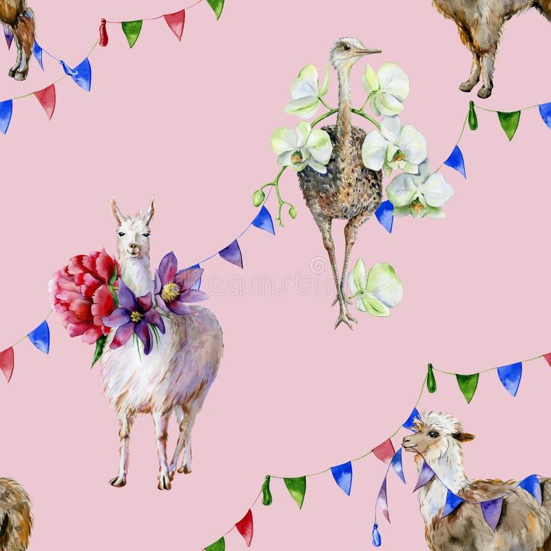 Akwarela bezszwowy wzór kreskówki alpaga, śliczna lama i struś z, orchideami, peoniami i faborkami, royalty ilustracja