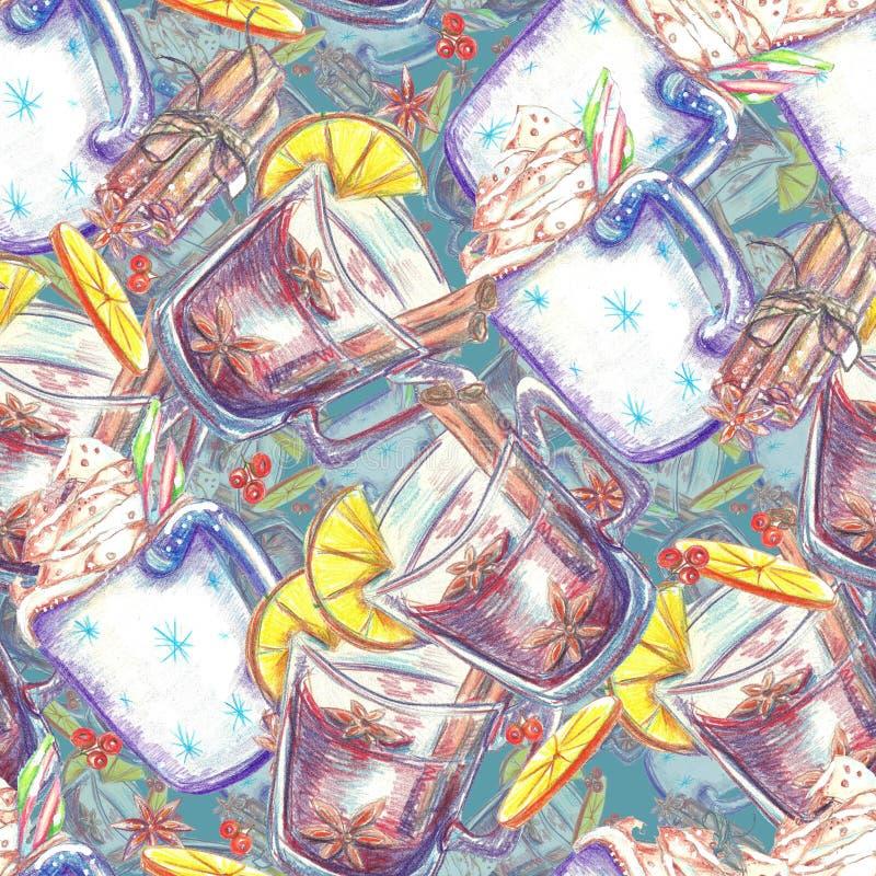 Akwarela bezszwowy wzór Kubek kakao royalty ilustracja