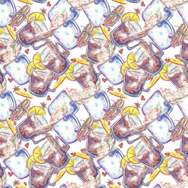 Akwarela bezszwowy wzór Kubek kakao ilustracja wektor