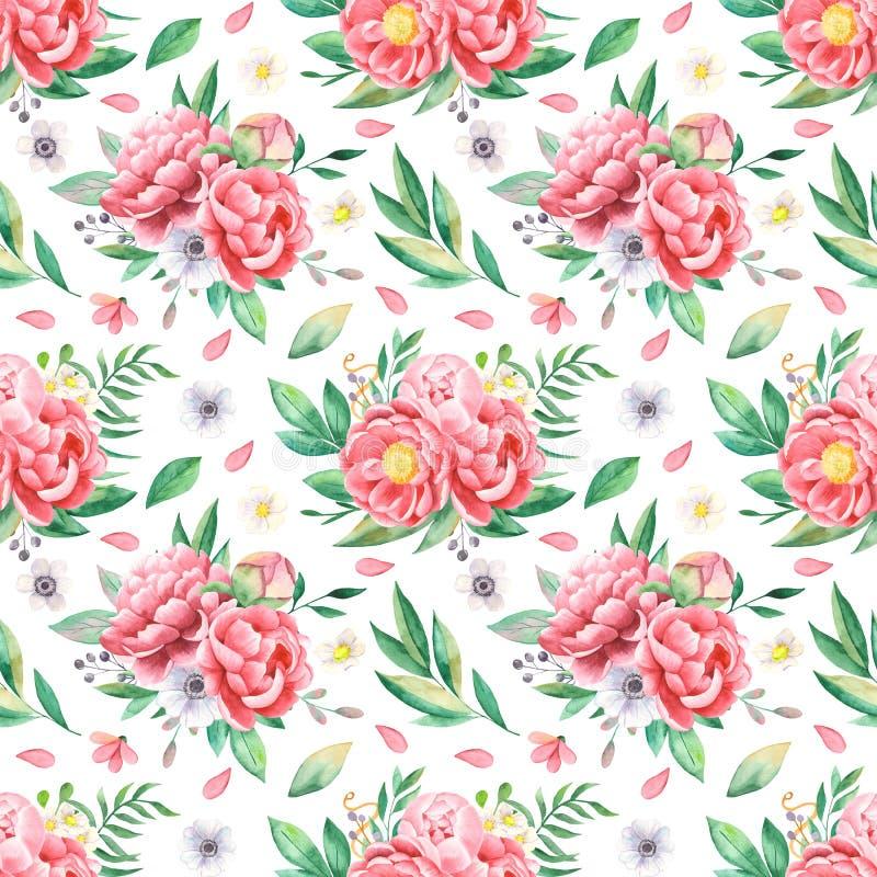 Akwarela bezszwowy wzór kwiaty peonie, liście, płatki, anemony ilustracji