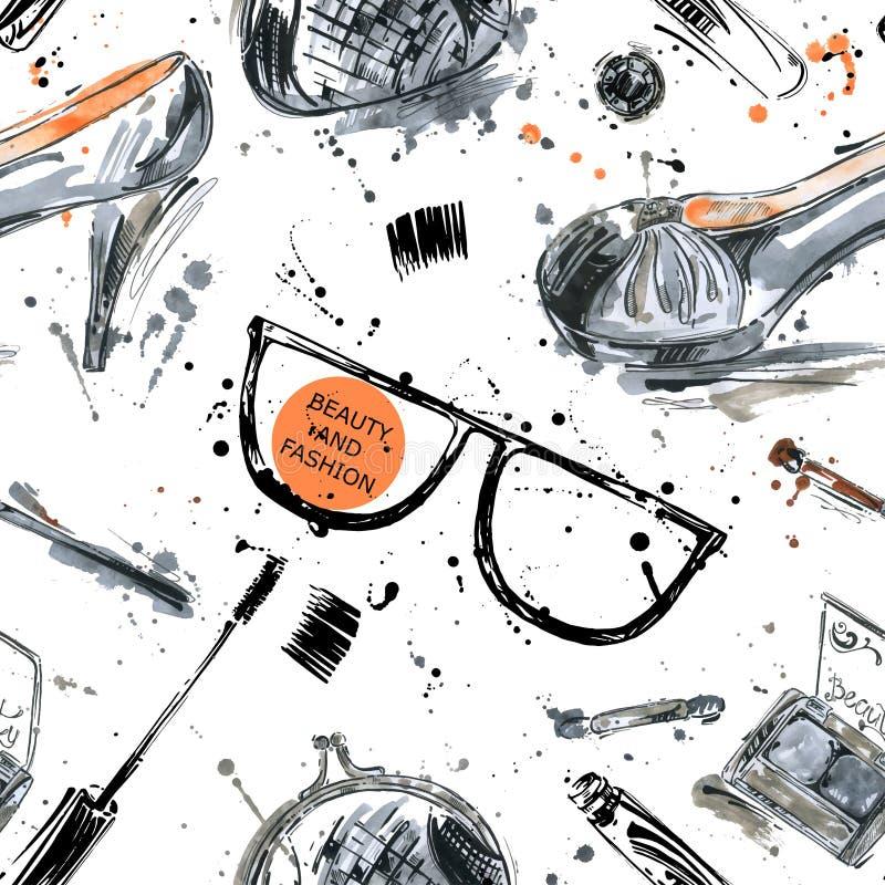 Akwarela bezszwowy wzór Mody ilustracja ilustracji