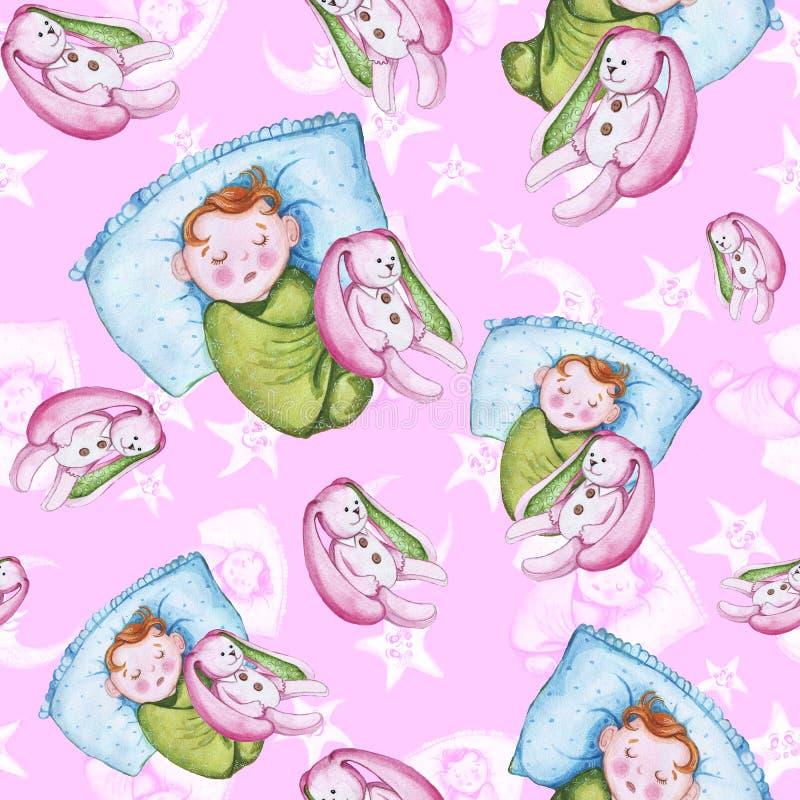 Akwarela bezszwowy wzór na temacie dziecka ` s ilustracja i dobranoc z małym dzieckiem wokoło żółtych gwiazd, ilustracji