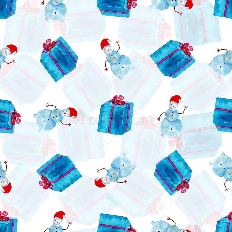 Akwarela bezszwowy wzór Nowego Roku opakunkowy papier z prezenta bałwanem i pudełkiem ilustracja wektor