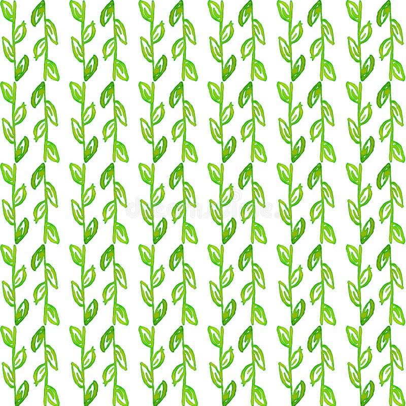 Akwarela bezszwowy wzór Prosta ręka rysujący wiosny tło Zieleni liście i gałąź EPS wektor im ilustracji