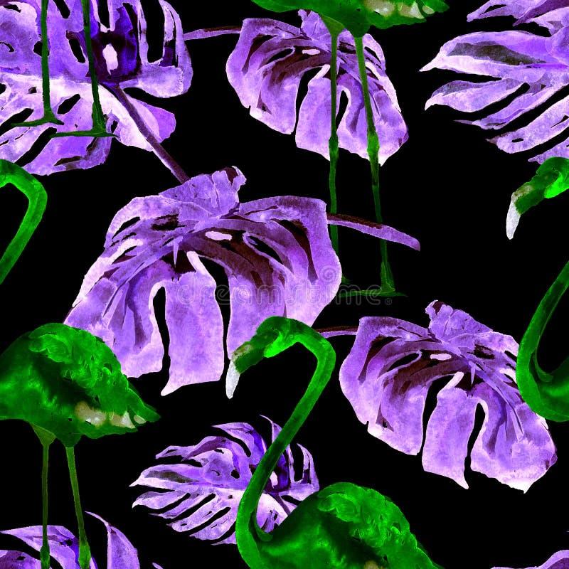 Akwarela bezszwowy wzór Ręka Malująca ilustracja Tropikalni liście i kwiaty Zwrotnika lata motyw z Tropikalnym wzorem zdjęcie stock