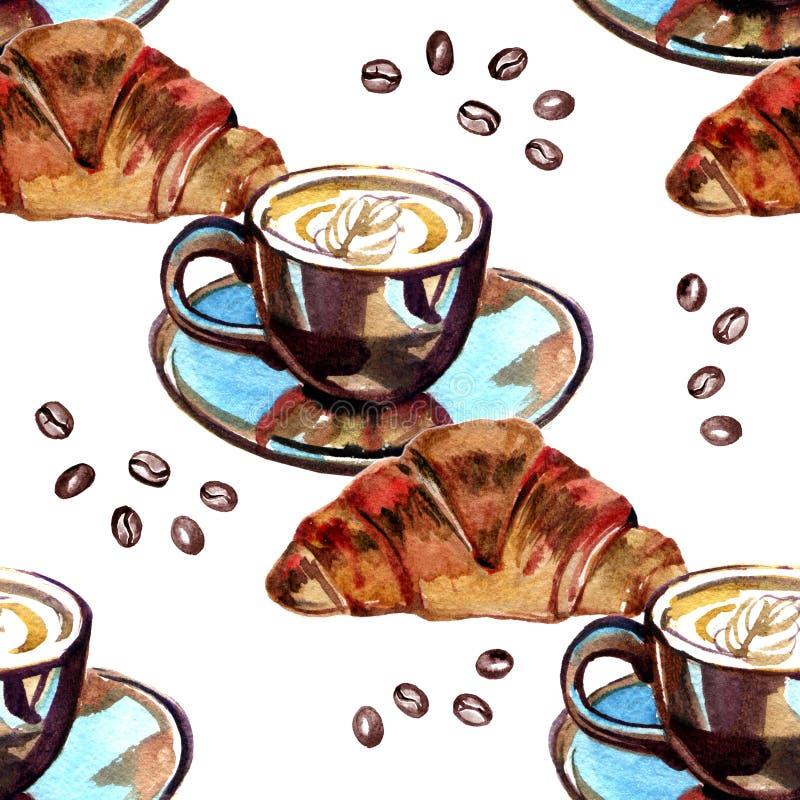 Akwarela Bezszwowy wzór - ranku croissant i kawa royalty ilustracja