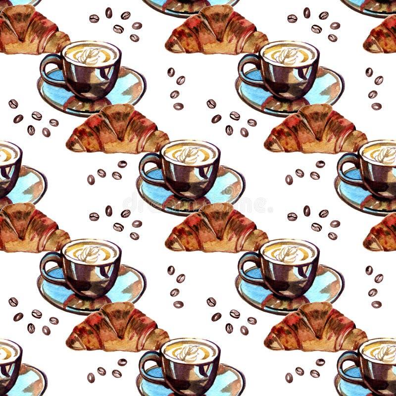 Akwarela Bezszwowy wzór - ranku croissant i kawa ilustracji