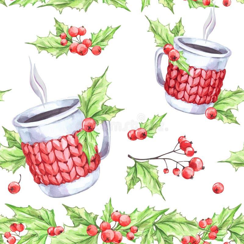 Akwarela bezszwowy wzór Wręcza malującą filiżankę gorący napój z trykotową skrzynką, rowan i liśćmi, Bożenarodzeniowa Kwiecista g royalty ilustracja