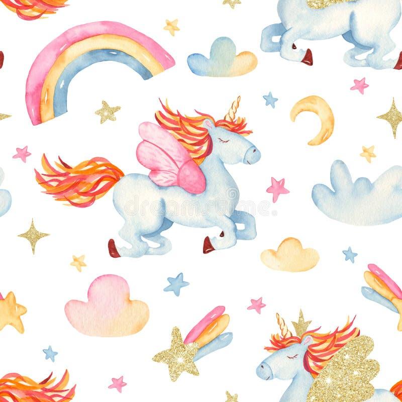 Akwarela bezszwowy wzór z ślicznej kreskówki romantyczną jednorożec, tęcza, gwiazdy, chmury royalty ilustracja