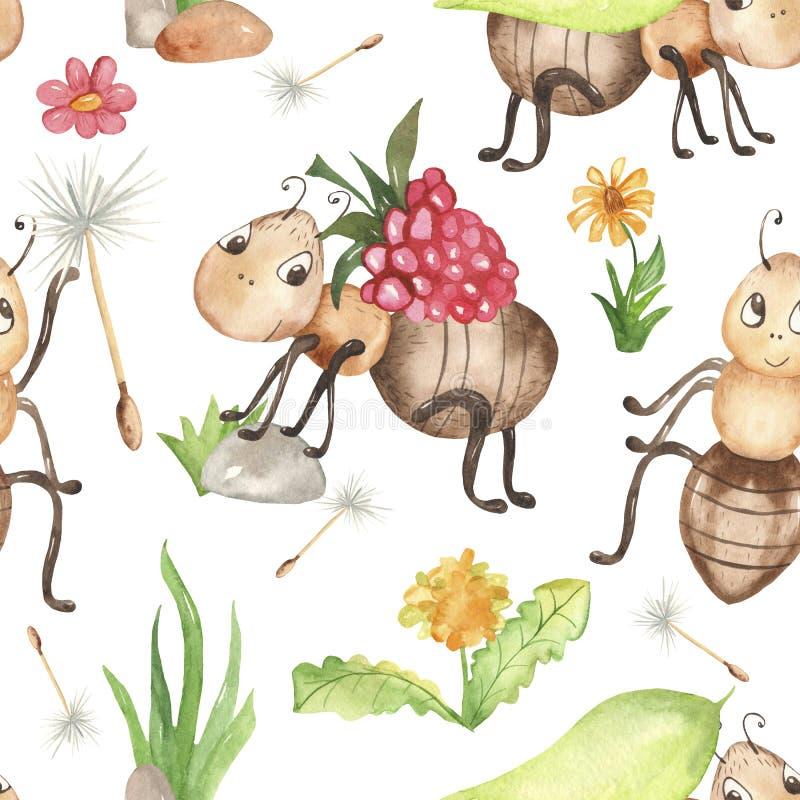 Akwarela bezszwowy wzór z ślicznymi dziecko kreskówki mrówkami royalty ilustracja