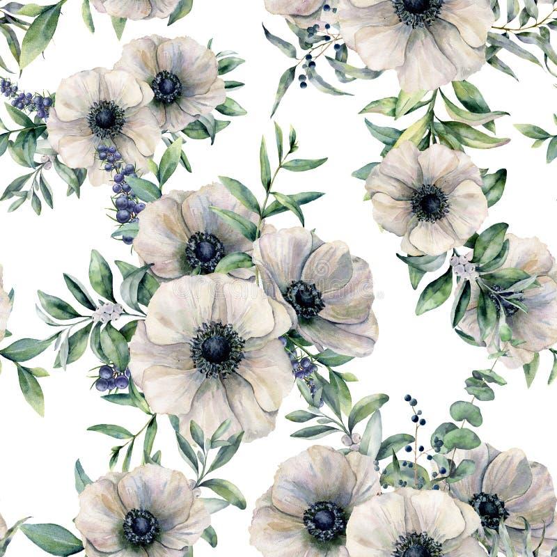 Akwarela bezszwowy wzór z anemonem Ręka malujący biały kwiat, eukaliptusowi liście, jagoda i jałowiec odizolowywający dalej, royalty ilustracja