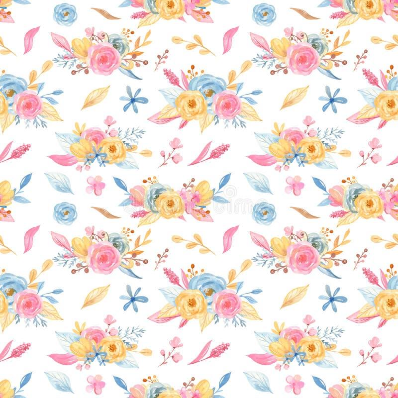 Akwarela bezszwowy wzór z bukietem kwiaty Kolekcja jednoro?ec ilustracji