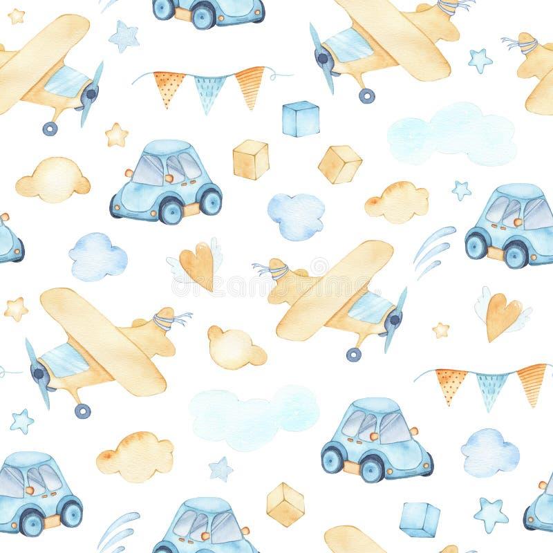 Akwarela bezszwowy wzór z chłopiec zabawek samolotowymi samochodowymi sześcianami chmurnieje ilustracji