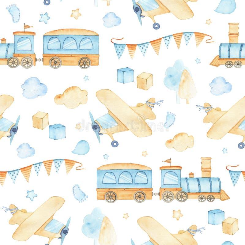 Akwarela bezszwowy wzór z chłopiec zabawek taborowymi samolotowymi sześcianami chmurnieje ilustracji