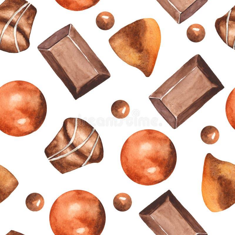 Akwarela bezszwowy wzór z czekoladowymi, smakowitymi dekoracjami dla i ilustracja wektor