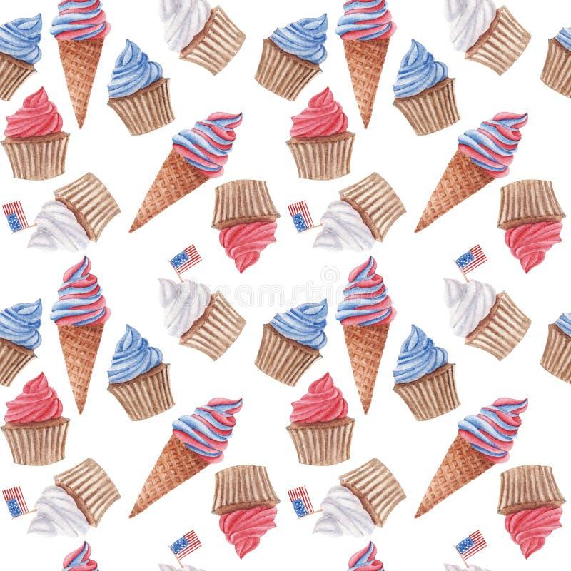 Akwarela bezszwowy wzór z czerwienią, babeczki i lody, błękitnymi i białymi zdjęcia stock