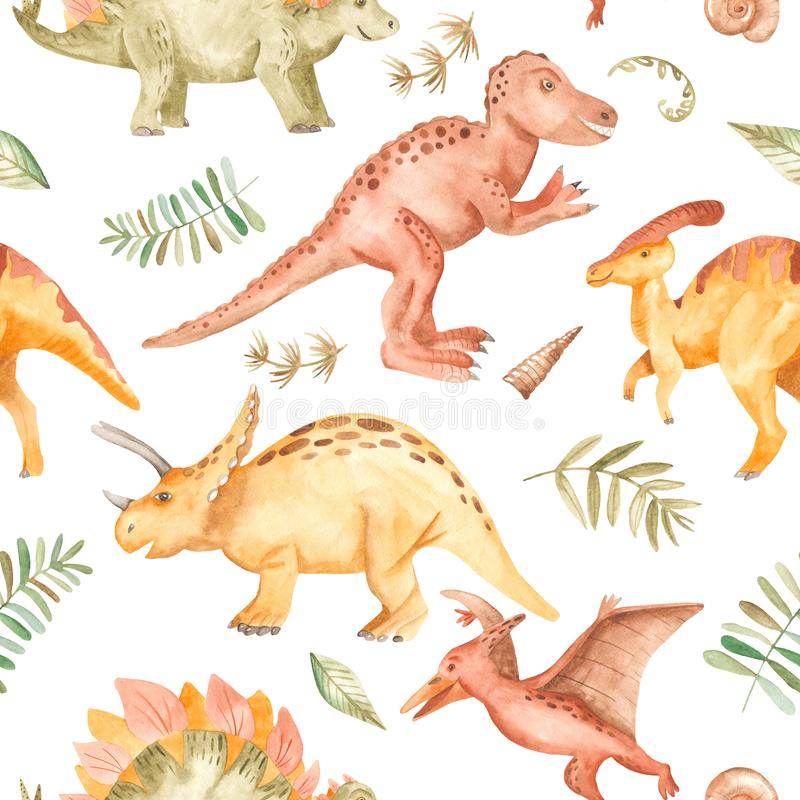 Akwarela bezszwowy wzór z dinosaurami, góry, drzewka palmowe, rośliny royalty ilustracja