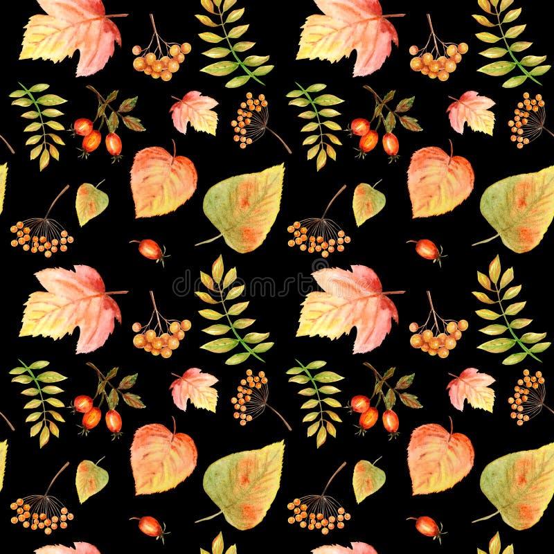 Akwarela Bezszwowy wzór z jaskrawym koloru lasem opuszcza i rozgałęzia się Piękny jesieni tło w pomarańcze, zieleń zdjęcia stock