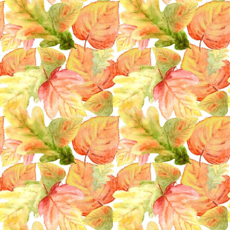 Akwarela Bezszwowy wzór z jaskrawym koloru lasem opuszcza Piękny jesieni tło w pomarańcze, zieleń, kolor żółty i fotografia stock