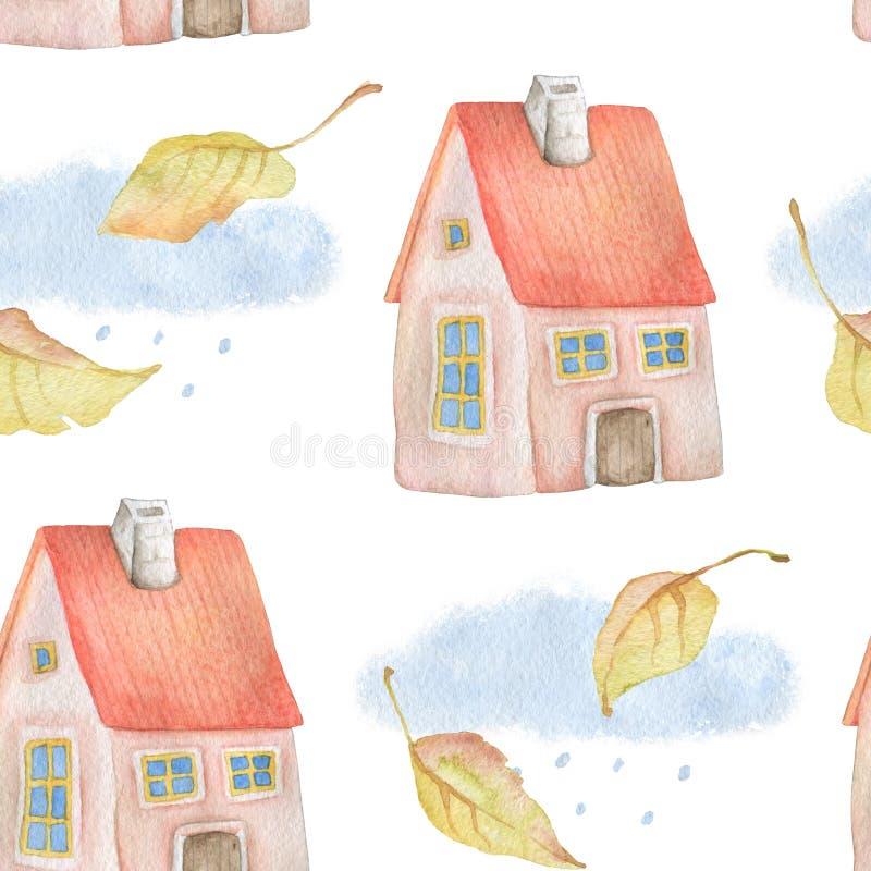 Akwarela bezszwowy wzór z jesień liśćmi, mieści, chmury i deszcz ilustracja wektor