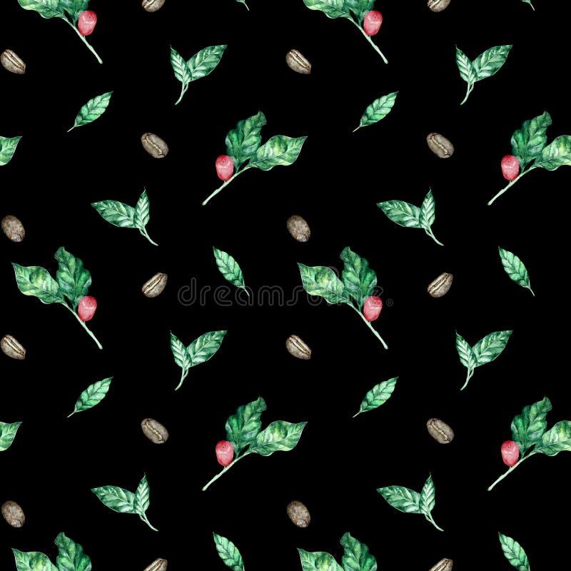Akwarela bezszwowy wzór z kawy gałąź z liśćmi i fasolami ilustracji