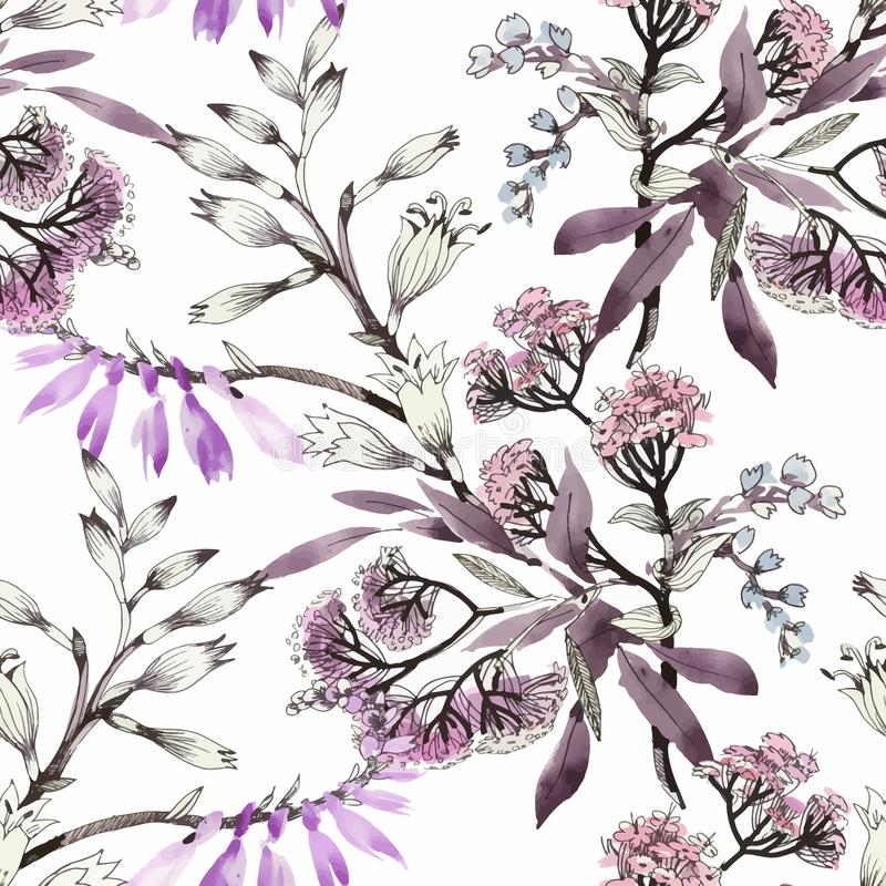 Akwarela bezszwowy wzór z kolorowymi kwiatami i liśćmi na białym tle, akwarela kwiecisty wzór, kwitnie wewnątrz ilustracja wektor