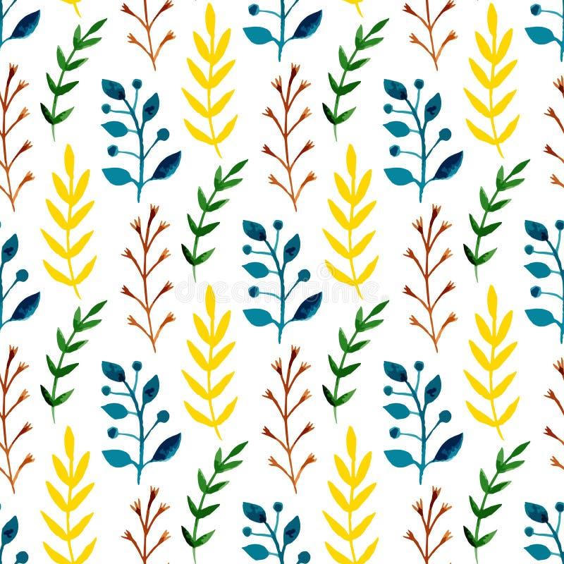 Akwarela bezszwowy wzór z kolorowymi liśćmi i gałąź Ręki farby wektorowy sezonowy tło Może używać dla zawijać, te royalty ilustracja