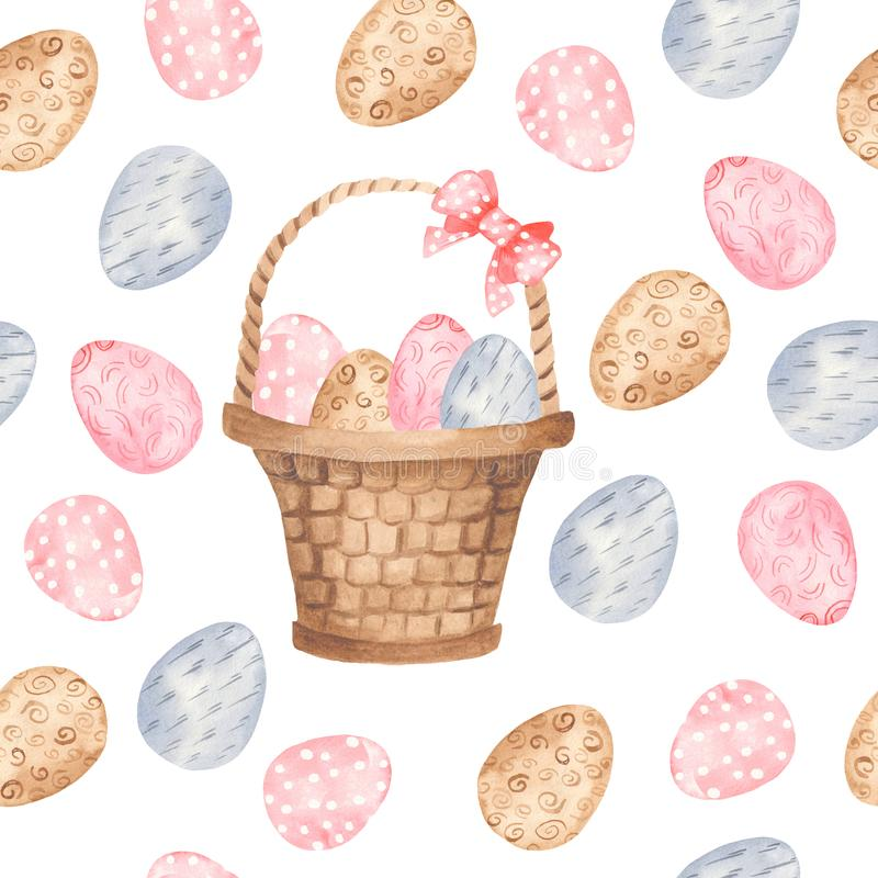 Akwarela bezszwowy wzór z kolorowymi Wielkanocnymi jajkami i koszem royalty ilustracja