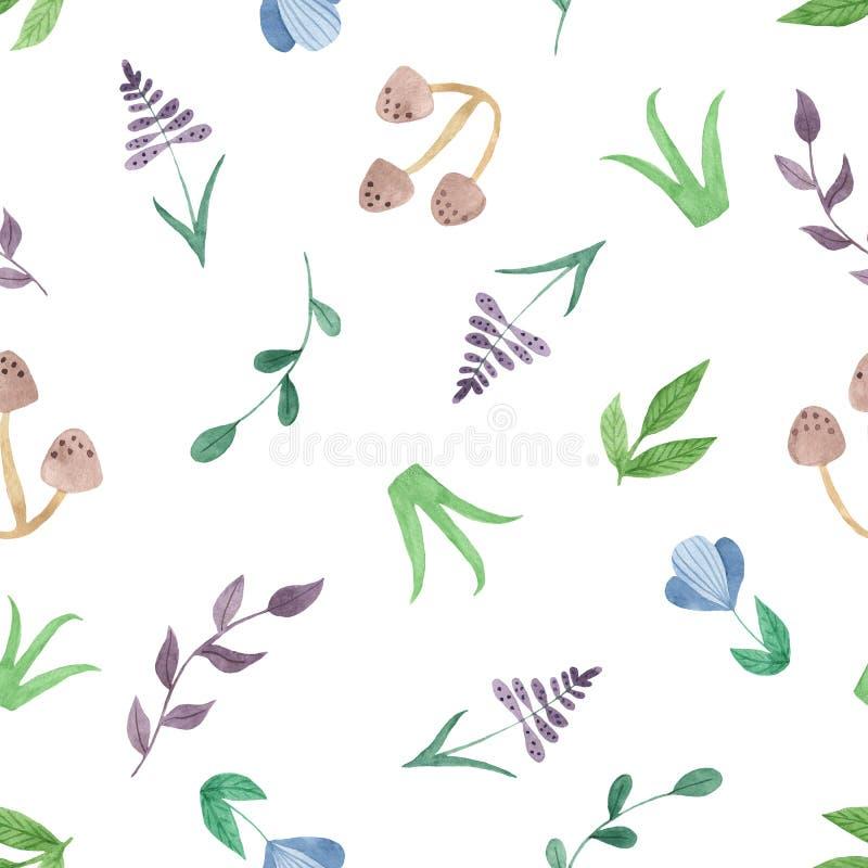 Akwarela bezszwowy wzór z kwiatami, pieczarki, liście, gałąź royalty ilustracja