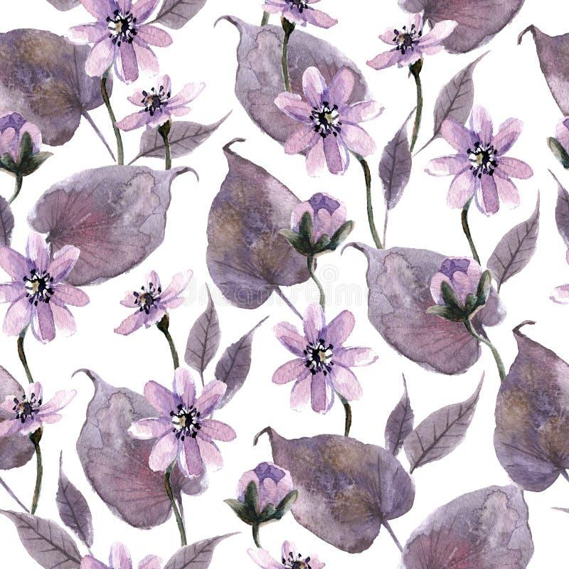 Akwarela bezszwowy wzór z mistycznymi kwiatami i lasów liśćmi obrazy stock