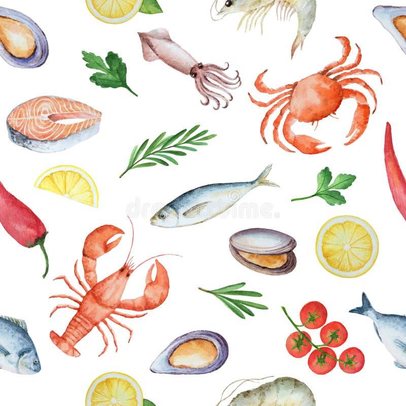 Akwarela bezszwowy wzór z owoce morza ilustracji