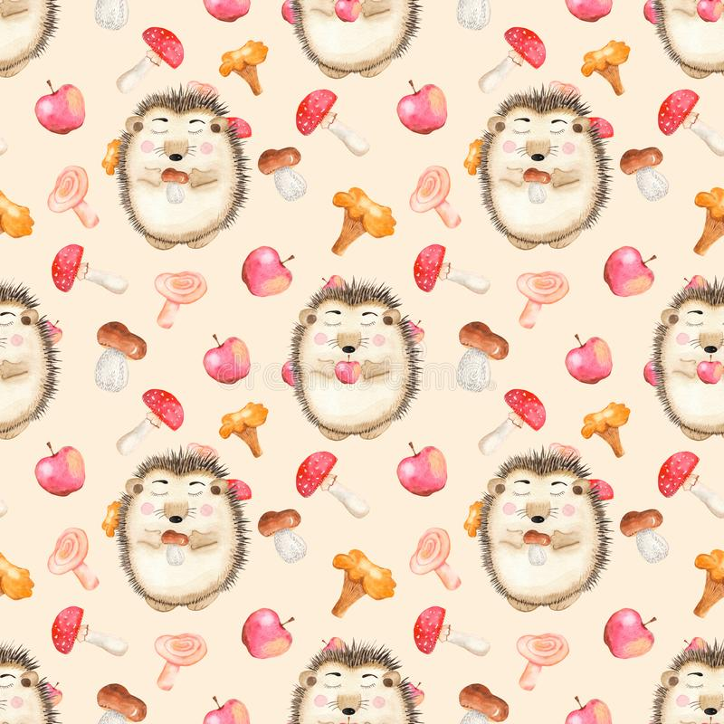 Akwarela bezszwowy wzór z pieczarkami, ślicznym kreskówka jeżem i jabłkami, ilustracja wektor