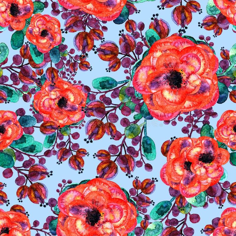 Akwarela bezszwowy wzór z różanym i liściem Czerwoni kwiat zieleni liście Na błękitnym tle, Kwiecista niekończący się grafika ilustracja wektor